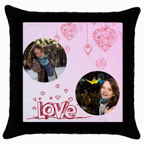 Love, Valentine By Ki Ki   Throw Pillow Case (black)   T8wqkiw0rf0m   Www Artscow Com Front