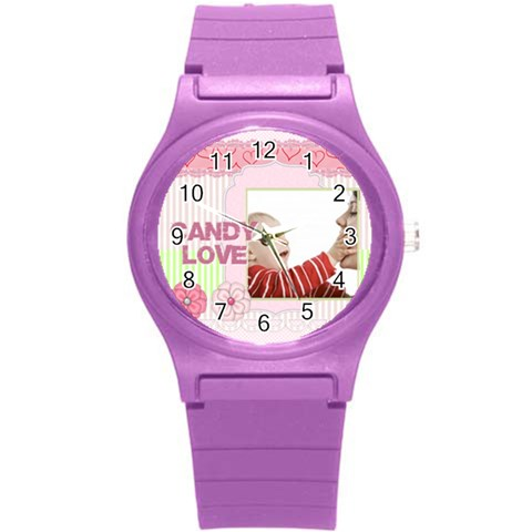 Love By Joely   Round Plastic Sport Watch (s)   1oofmss0p0zb   Www Artscow Com Front