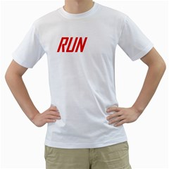 Run White Mens T Shirt   Double Sided Print  by S4successtees