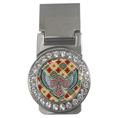 South West Leather Look Money Clip With Gemstones (round)