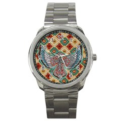 South West Leather Look Stainless Steel Sports Watch (Round) by artattack4all