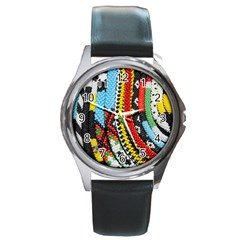 Multi Colored Beaded Background Black Leather Watch (round) by artattack4all