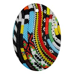 Multi Colored Beaded Background Ceramic Ornament (oval) by artattack4all