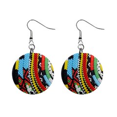 Multi Colored Beaded Background Mini Button Earrings by artattack4all