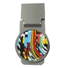 Multi Colored Beaded Background Money Clip (round) by artattack4all