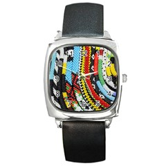Multi Colored Beaded Background Black Leather Watch (square) by artattack4all