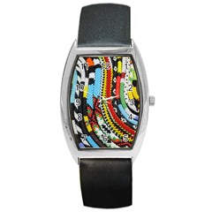 Multi Colored Beaded Background Black Leather Watch (tonneau) by artattack4all