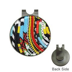 Multi Colored Beaded Background Hat Clip With Golf Ball Marker by artattack4all