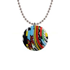 Multi Colored Beaded Background Mini Button Necklace by artattack4all