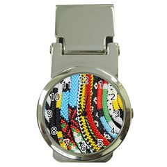 Multi Colored Beaded Background Chrome Money Clip With Watch by artattack4all