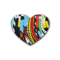 Multi Colored Beaded Background 4 Pack Rubber Drinks Coaster (heart)