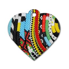 Multi Colored Beaded Background Single Sided Dog Tag (heart) by artattack4all