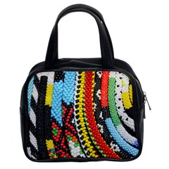 Multi Colored Beaded Background Twin Sided Satched Handbag by artattack4all