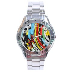 Multi Colored Beaded Background Stainless Steel Analogue Watch (round) by artattack4all