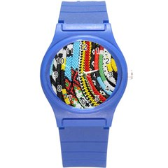 Multi Colored Beaded Background Round Plastic Sport Watch Small by artattack4all