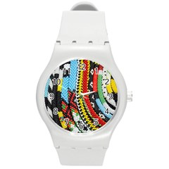 Multi Colored Beaded Background Round Plastic Sport Watch Medium