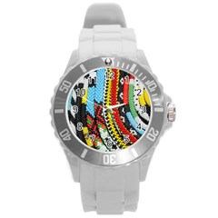 Multi Colored Beaded Background Round Plastic Sport Watch Large by artattack4all