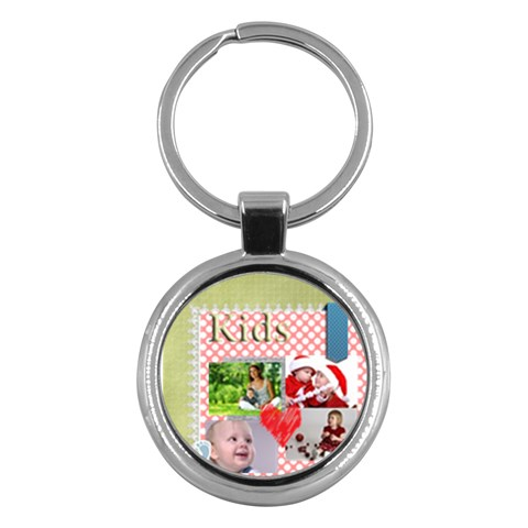 Kids , Flower , Happy, Fun By Debe Lee   Key Chain (round)   1g9xo5s1im86   Www Artscow Com Front