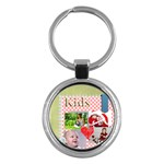 kids , flower , happy, fun - Key Chain (Round)