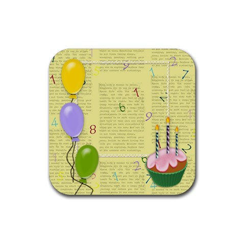 Happy Bithday Coasters By Zornitza   Rubber Square Coaster (4 Pack)   X3zh7yt2vs85   Www Artscow Com Front