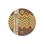 Simply Flowers on chevron paper Round Coaster - Rubber Round Coaster (4 pack)
