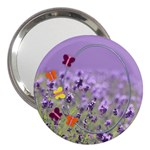 Lavender fields with Butterflies handbag mirror - 3  Handbag Mirror