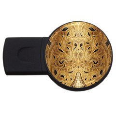 Golden Brown Tooled Faux Leather Look Usb Flash Drive Round (4 Gb) by artattack4all