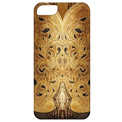 Golden Brown Tooled Faux Leather Look Apple Iphone 5 Classic Hardshell Case by artattack4all