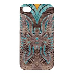 Turquoise And Gray Eagle Tooled Leather Look Apple Iphone 4/4s Hardshell Case by artattack4all