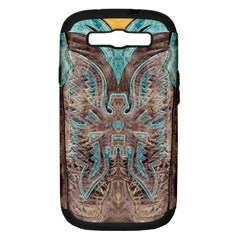 Turquoise And Gray Eagle Tooled Leather Look Samsung Galaxy S Iii Hardshell Case (pc+silicone) by artattack4all