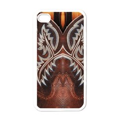 Brown And Black Tooled Leather Design Look Apple Iphone 4 Case (white)
