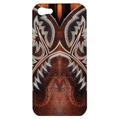 Brown And Black Tooled Leather Design Look Apple Iphone 5 Hardshell Case