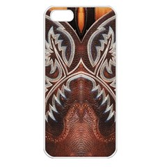 Brown And Black Tooled Leather Design Look Apple Iphone 5 Seamless Case (white) by artattack4all