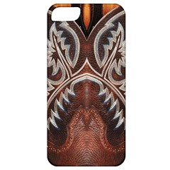 Brown And Black Tooled Leather Design Look Apple Iphone 5 Classic Hardshell Case by artattack4all