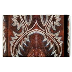 Brown And Black Tooled Leather Design Look Apple Ipad 2 Flip Case by artattack4all