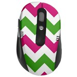 pink green chevron - Wireless Laser Optical Mouse