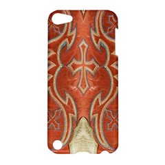 Orange And Cross Design On Leather Look Apple Ipod Touch 5 Hardshell Case