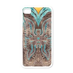 Turquoise And Gray Western Leather Look White Apple Iphone 4 Case by artattack4all