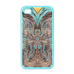 Turquoise And Gray Western Leather Look Apple Iphone 4 Case (color) by artattack4all