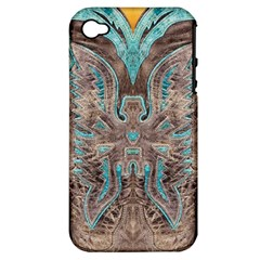 Turquoise And Gray Western Leather Look Apple Iphone 4/4s Hardshell Case (pc+silicone)