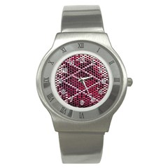 Red Glitter Bling Stainless Steel Watch (round) by artattack4all