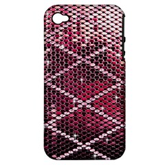 Red Glitter Bling Apple Iphone 4/4s Hardshell Case (pc+silicone) by artattack4all
