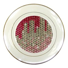 Mauve Gradient Rhinestones  Porcelain Display Plate by artattack4all