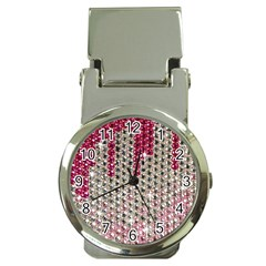 Mauve Gradient Rhinestones  Chrome Money Clip With Watch