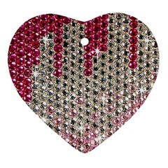 Mauve Gradient Rhinestones  Heart Ornament (two Sides) by artattack4all