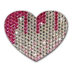 Mauve Gradient Rhinestones  Mouse Pad (Heart) by artattack4all