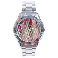 Mauve Gradient Rhinestones  Stainless Steel Analogue Watch (Round) by artattack4all