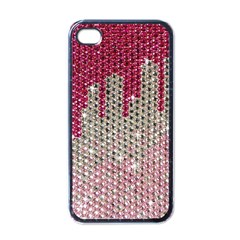 Mauve Gradient Rhinestones  Black Apple Iphone 4 Case by artattack4all