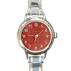 Studded Faux Leather Red Classic Elegant Ladies Watch (round) by artattack4all
