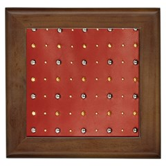 Studded Faux Leather Red Framed Ceramic Tile by artattack4all